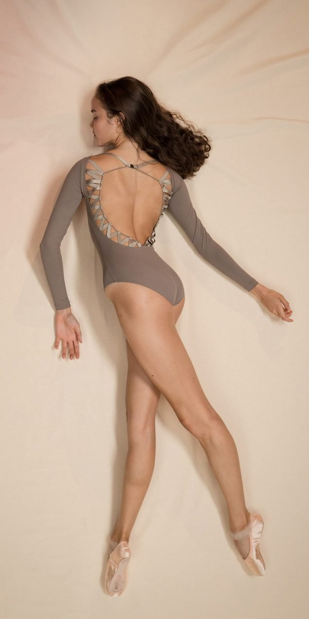 CHEVRON long sleeve laced back leotard khaki 1 r 2