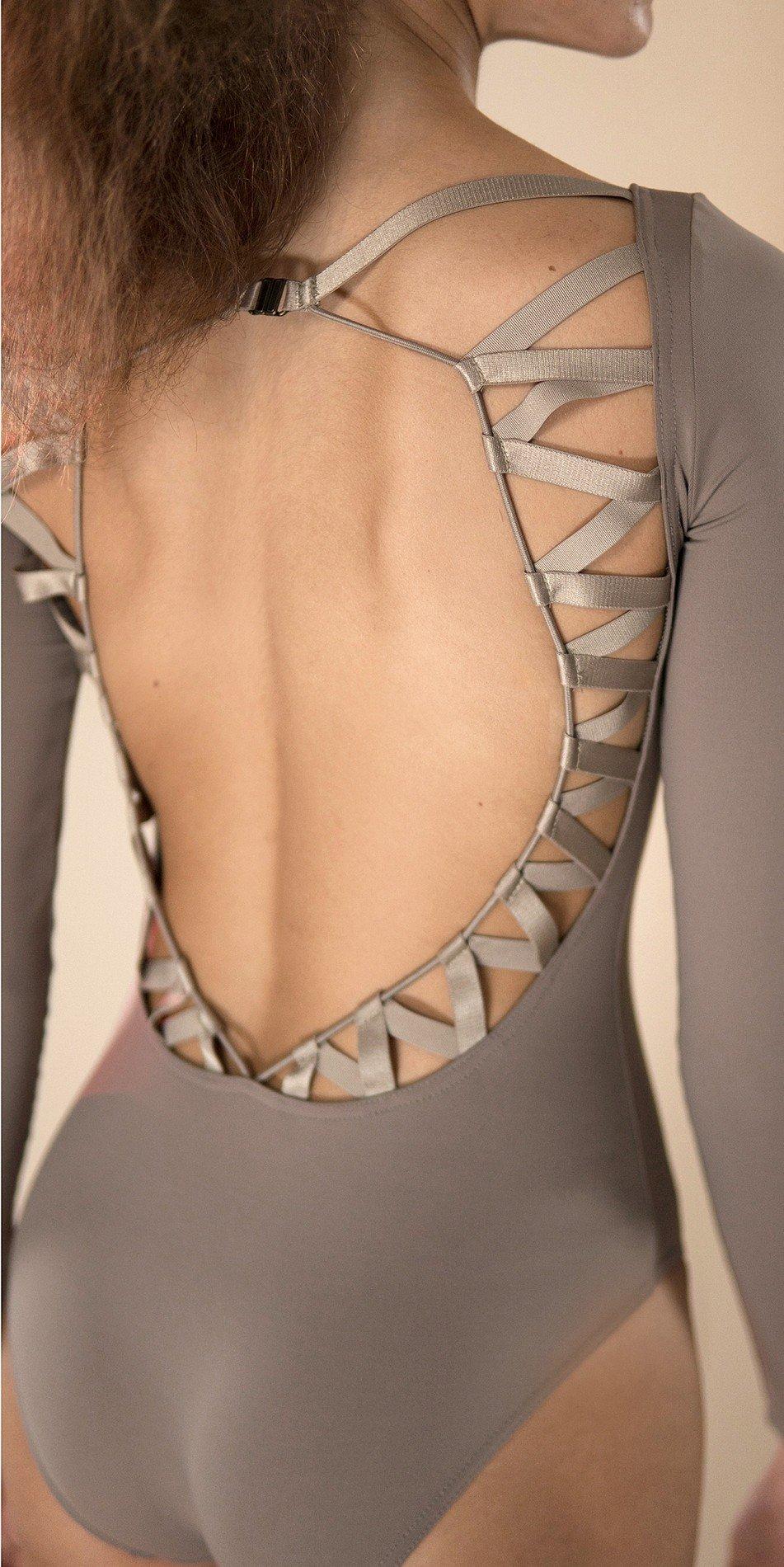 CHEVRON long sleeve laced back leotard khaki 2 r 2