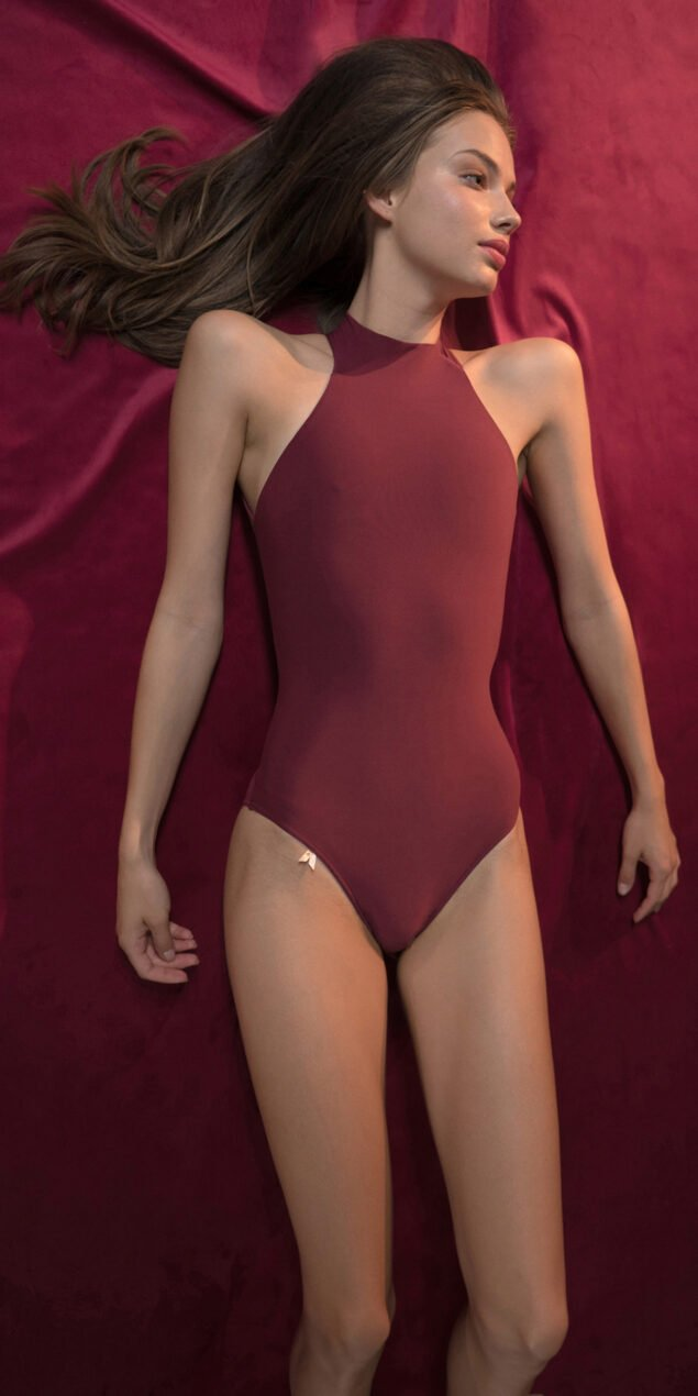 CHOKER red turtleneck leotard 3