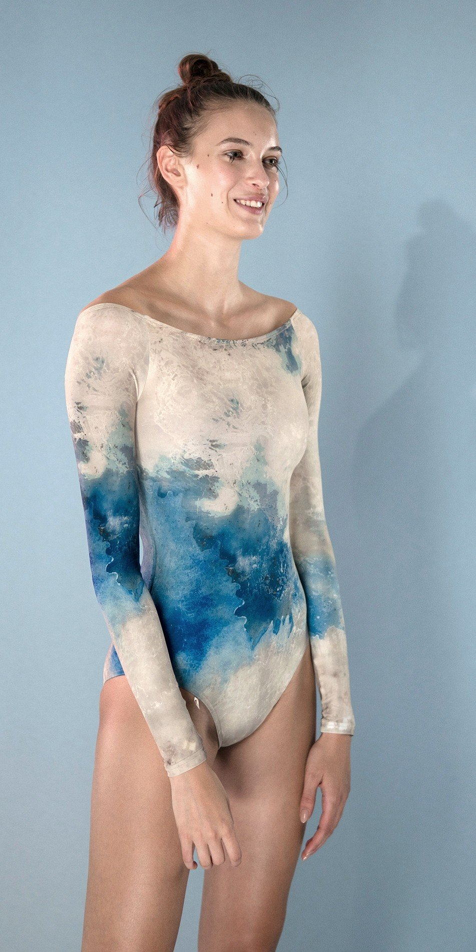 CRYSTAL leotard with sleeves blue 3 r