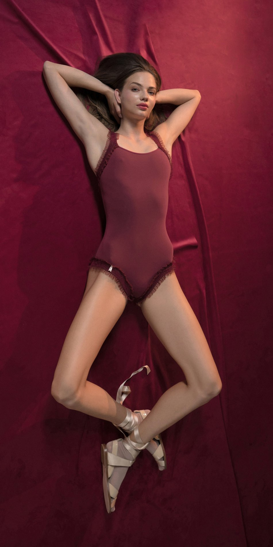 ELENOR red leotard with straps 2