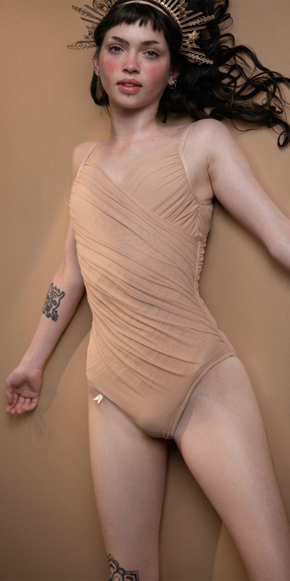 GRES nude draped cache ceour leotard Bloom 2