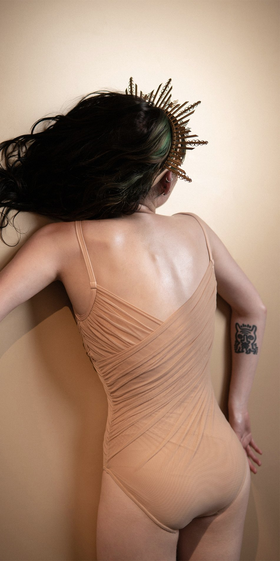 GRES nude draped cache ceour leotard Bloom 5