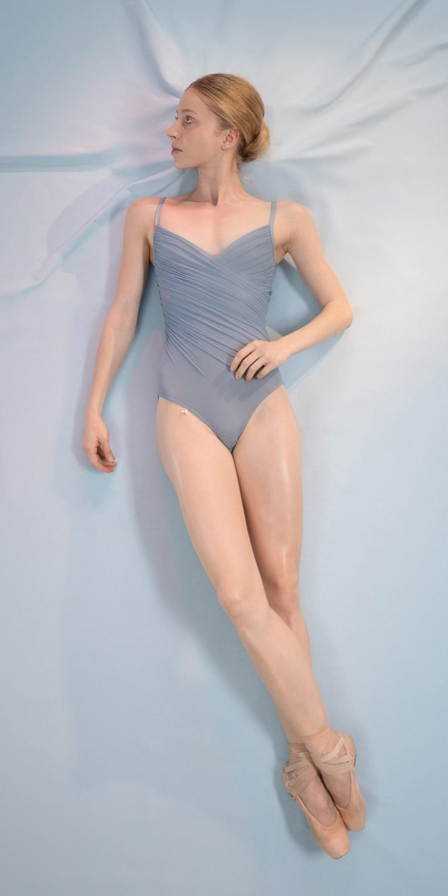 GRES blue cache20coeur draped leotard 1 r