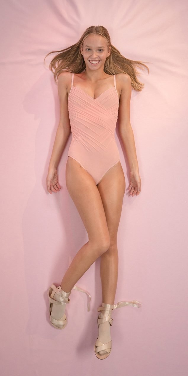 GRES blush cache20coeur draped leotard 1 r