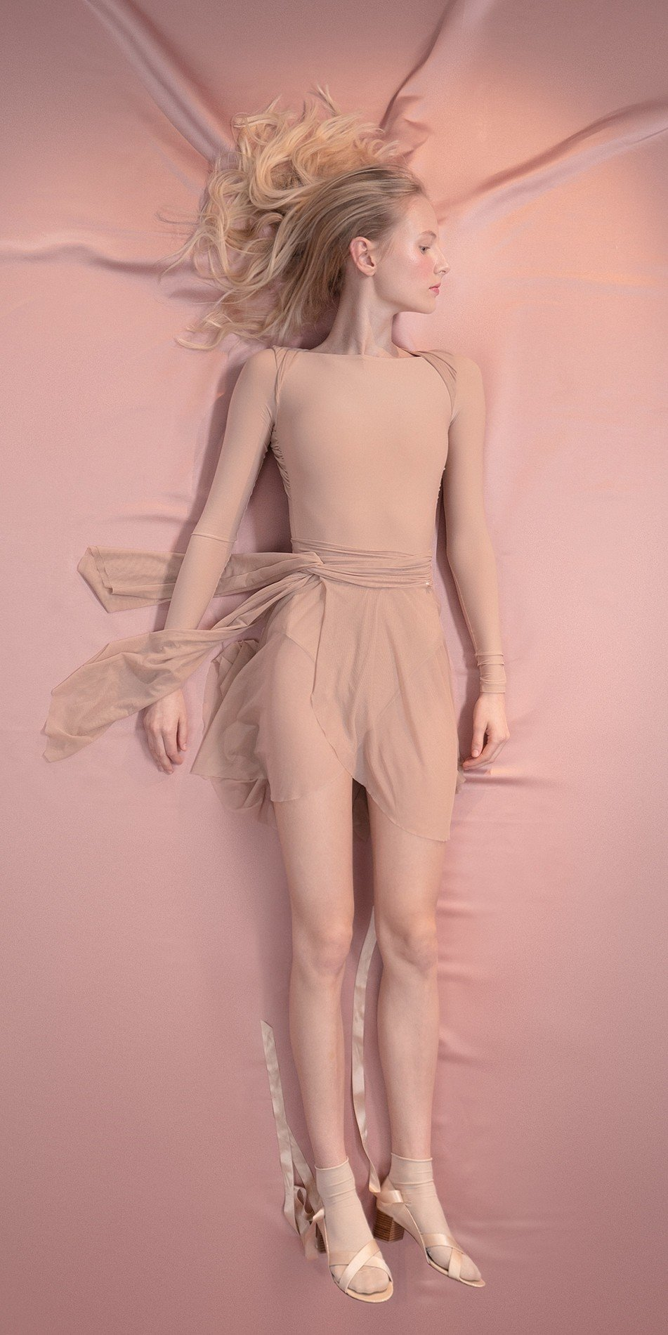 GRES knotted20back20leotard20with20sleeves nude 1 r 1