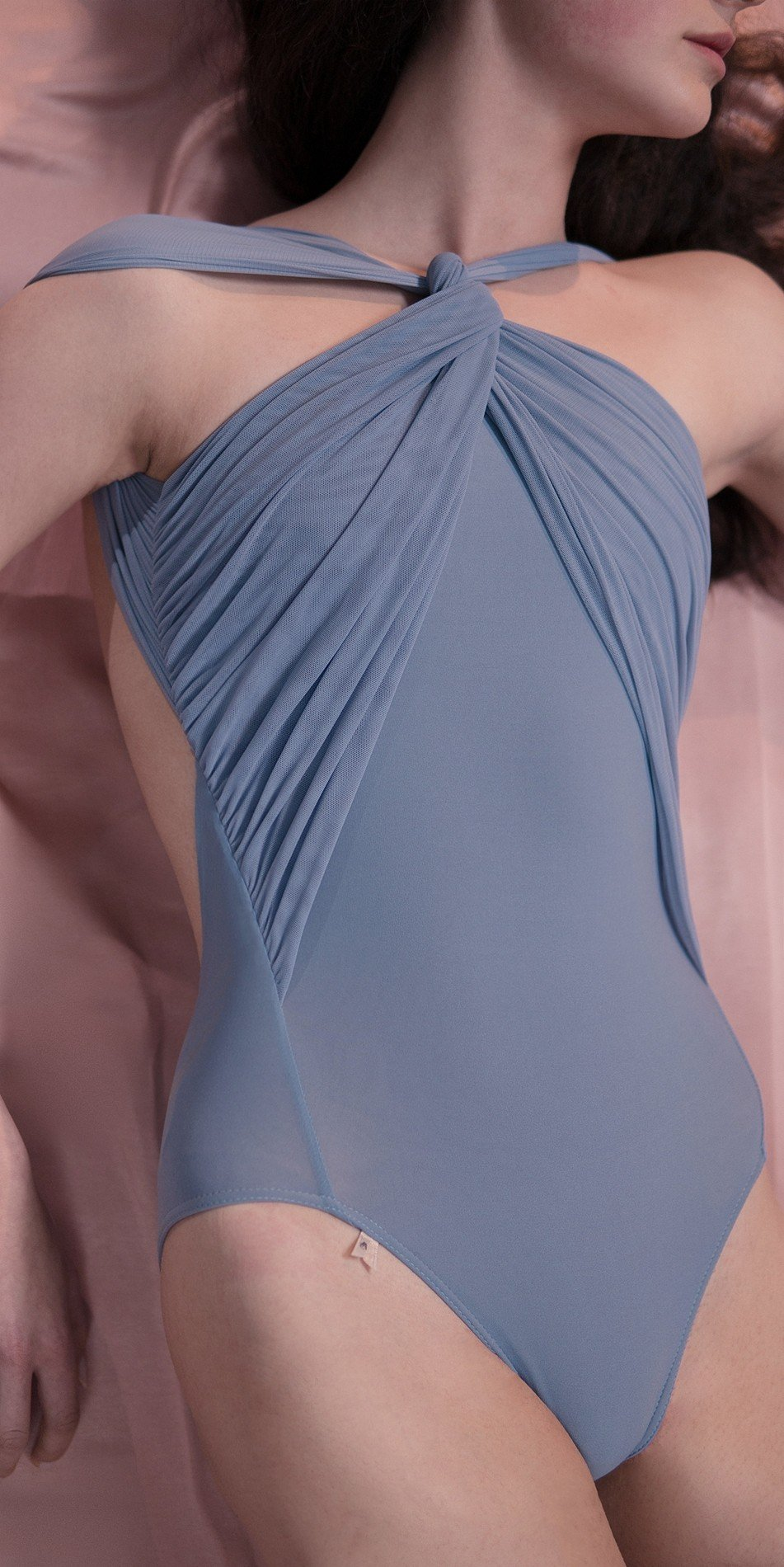 GRES knotted20neckline20leotard blue 1 r 2