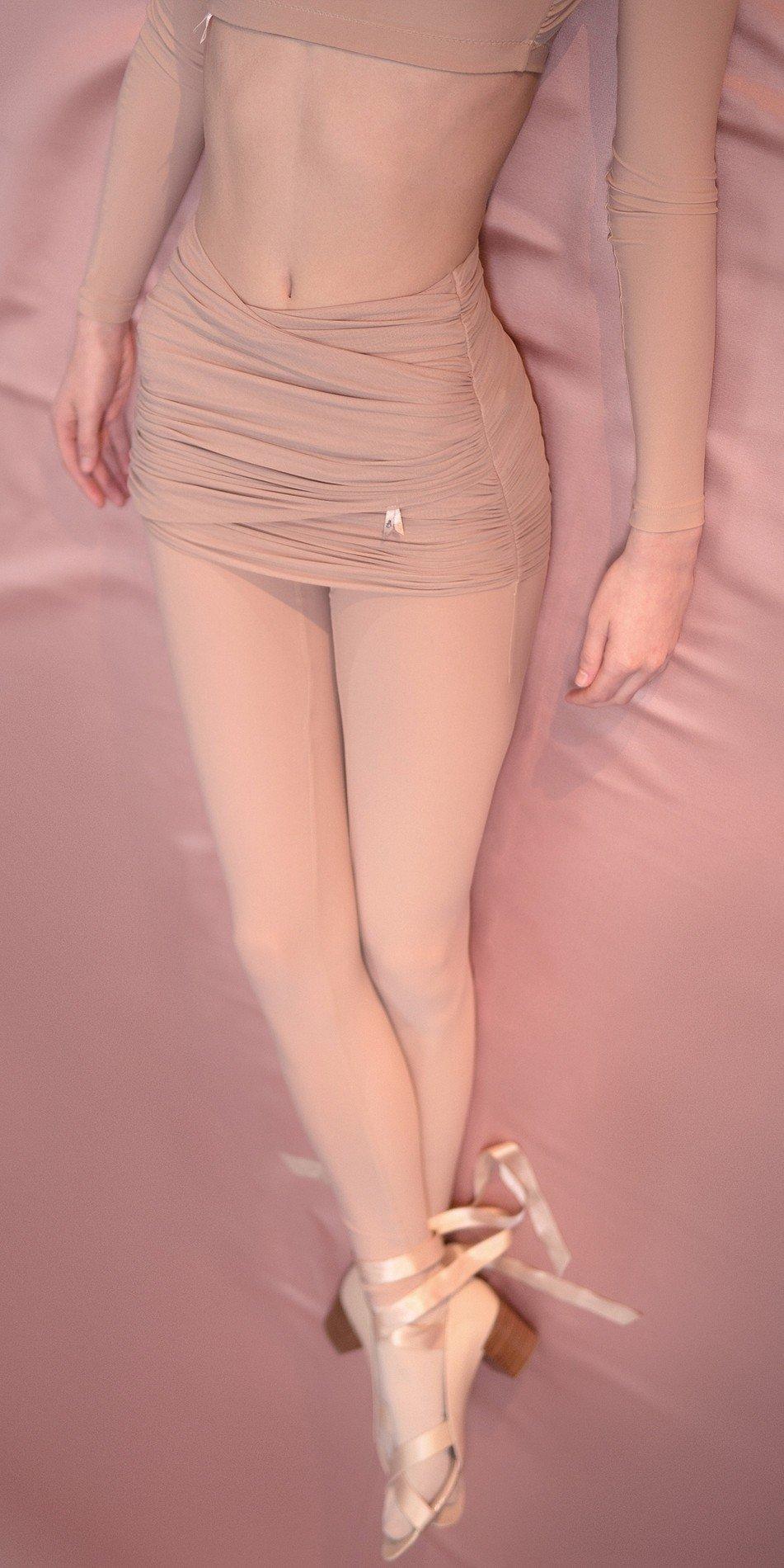 GRES leggings20with20draped20wrap20mini20skirt nude 3 r 1