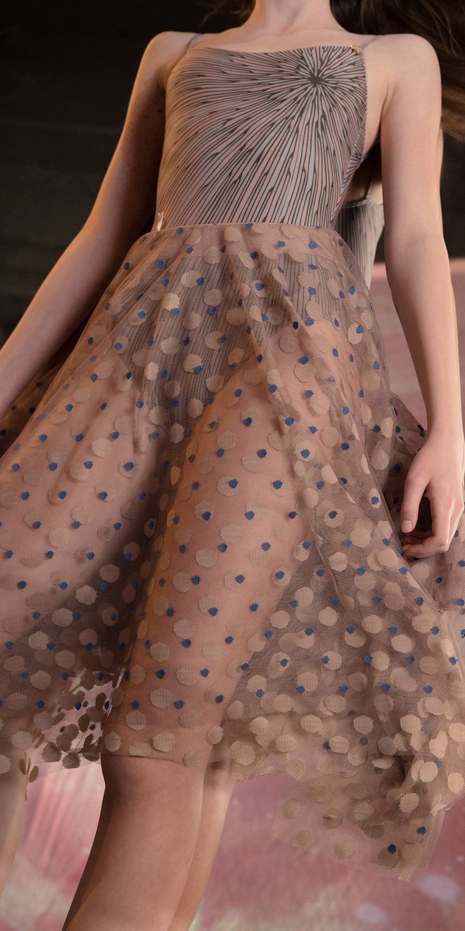 JUMBO POLKA TULLE long square skirt blue nude 3