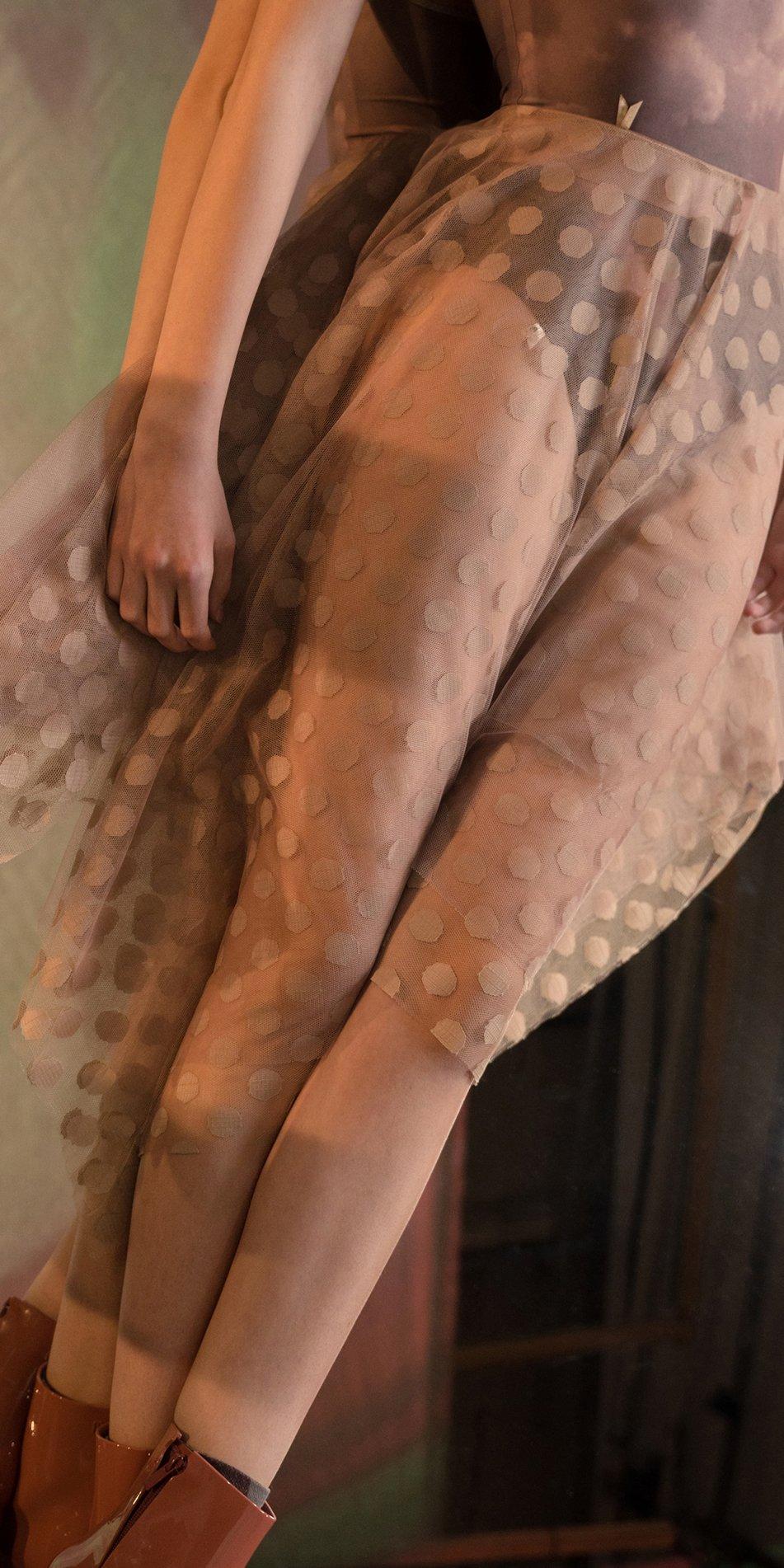 JUMBO POLKA TULLE long square skirt lavender nude 1