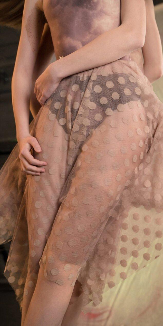 JUMBO POLKA TULLE long square skirt lavender nude 2