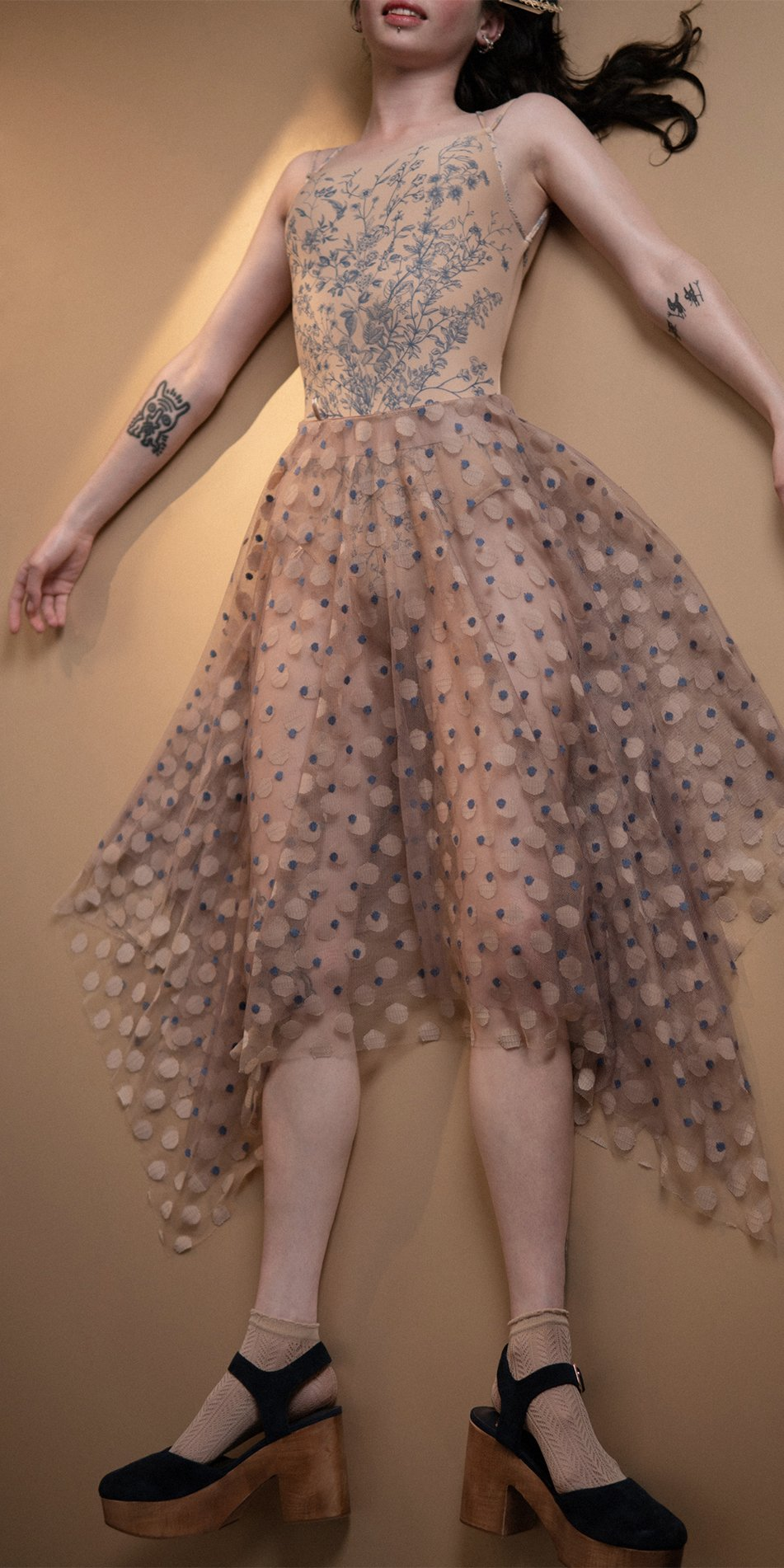 JUMBO POLKA long skirt blue nude 1