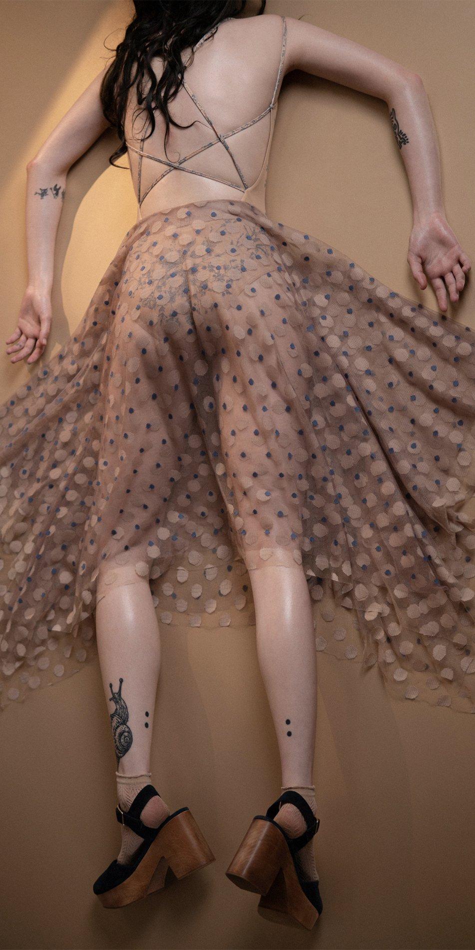 JUMBO POLKA long skirt blue nude 2