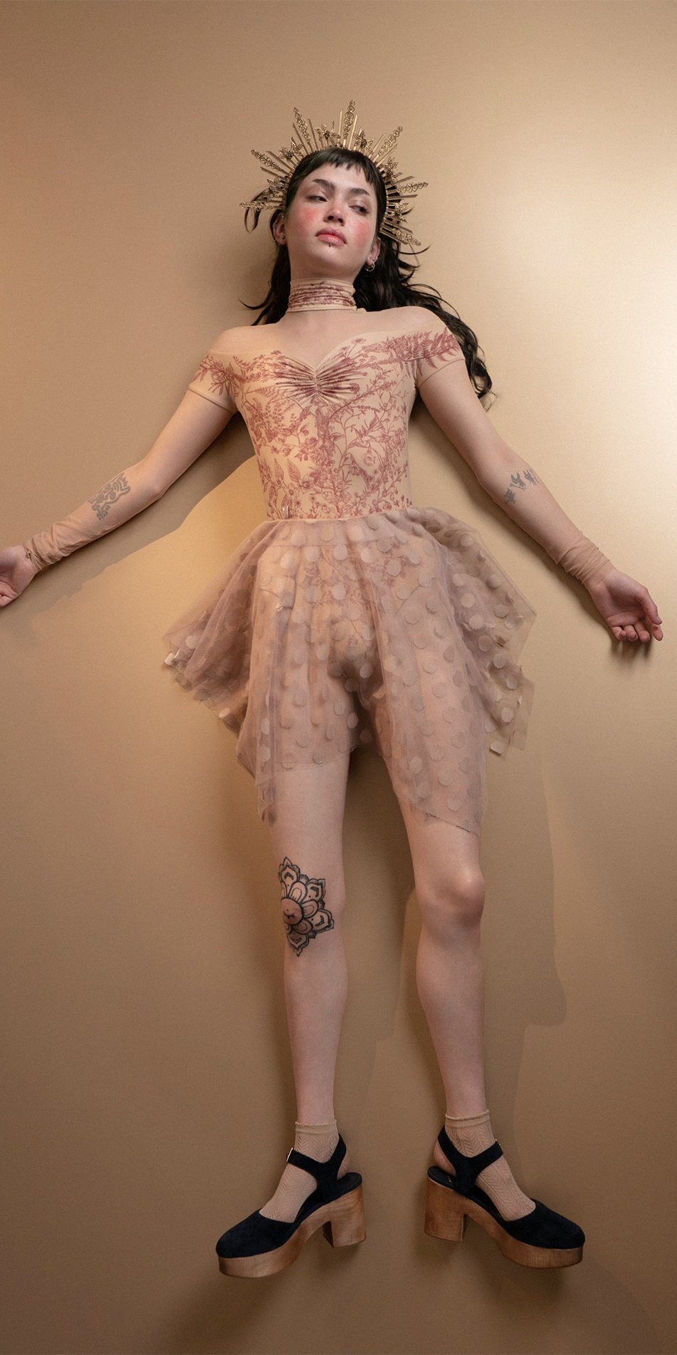 JUMBO POLKA nude short skirt Bloom 3