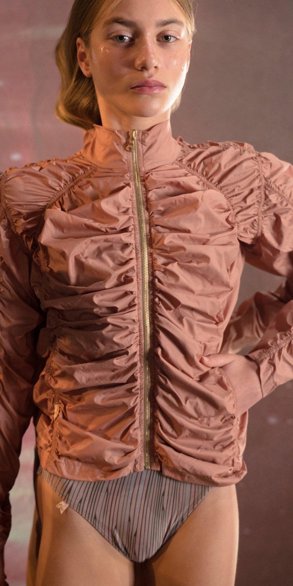 PARA CUTE blush draped jacket 4
