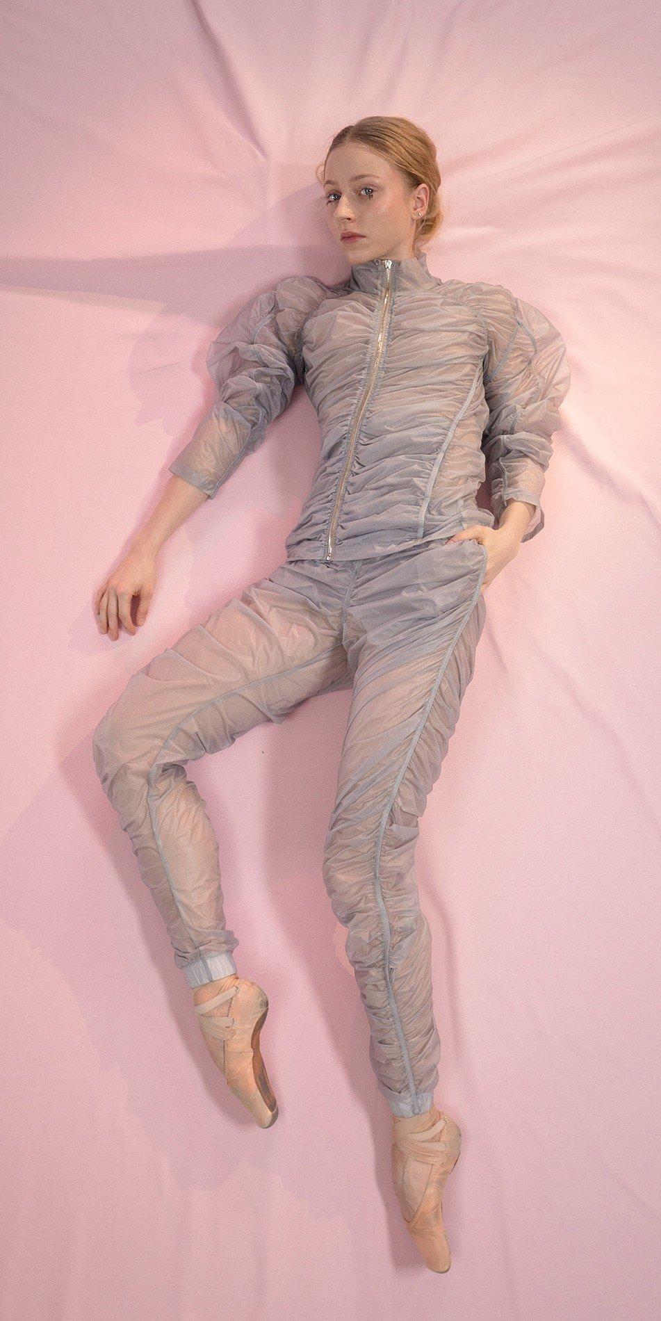 PARA CUTE ice20gray draped pants 2 r