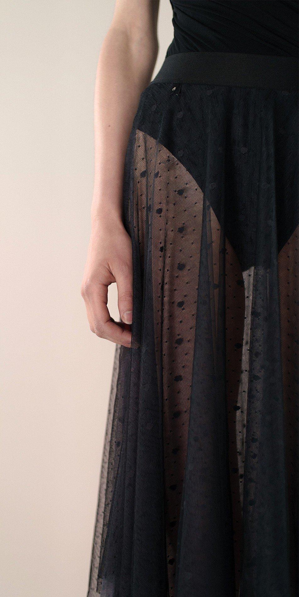 Polka20tulle long dress black 1 r