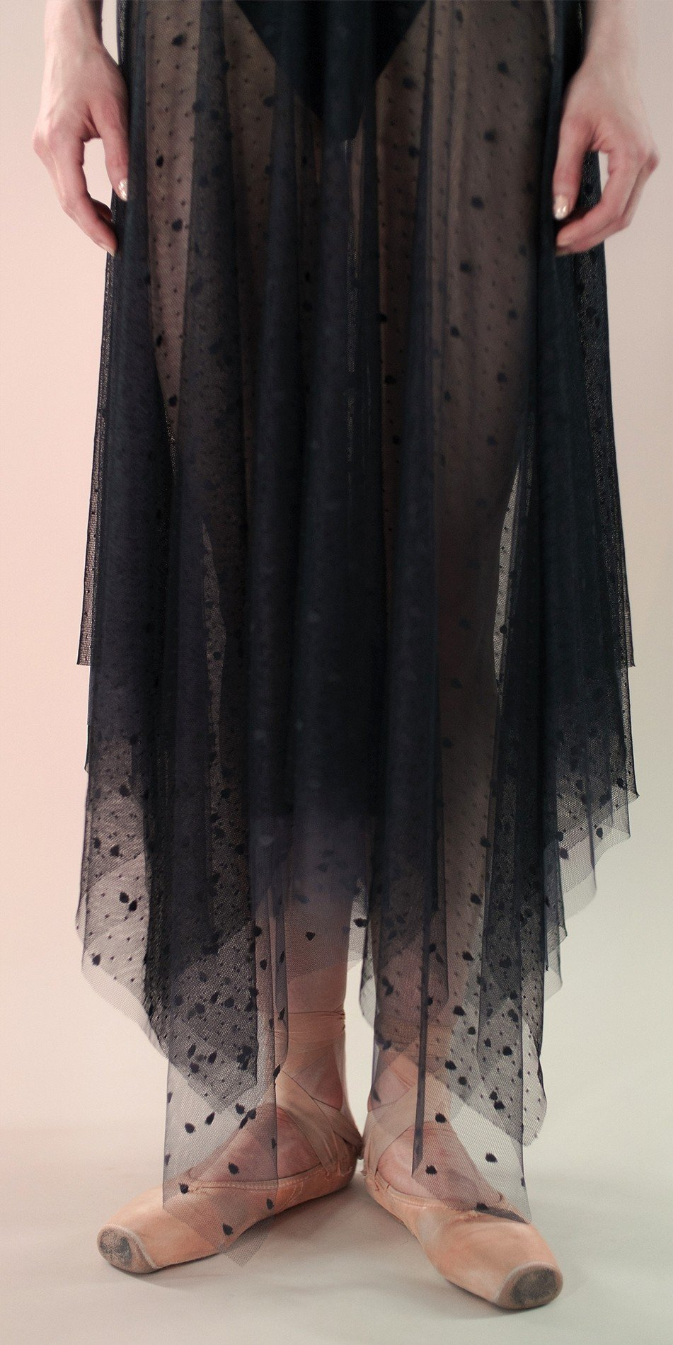 Polka20tulle long dress black 2 r