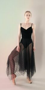 Polka20tulle long dress black 3 r