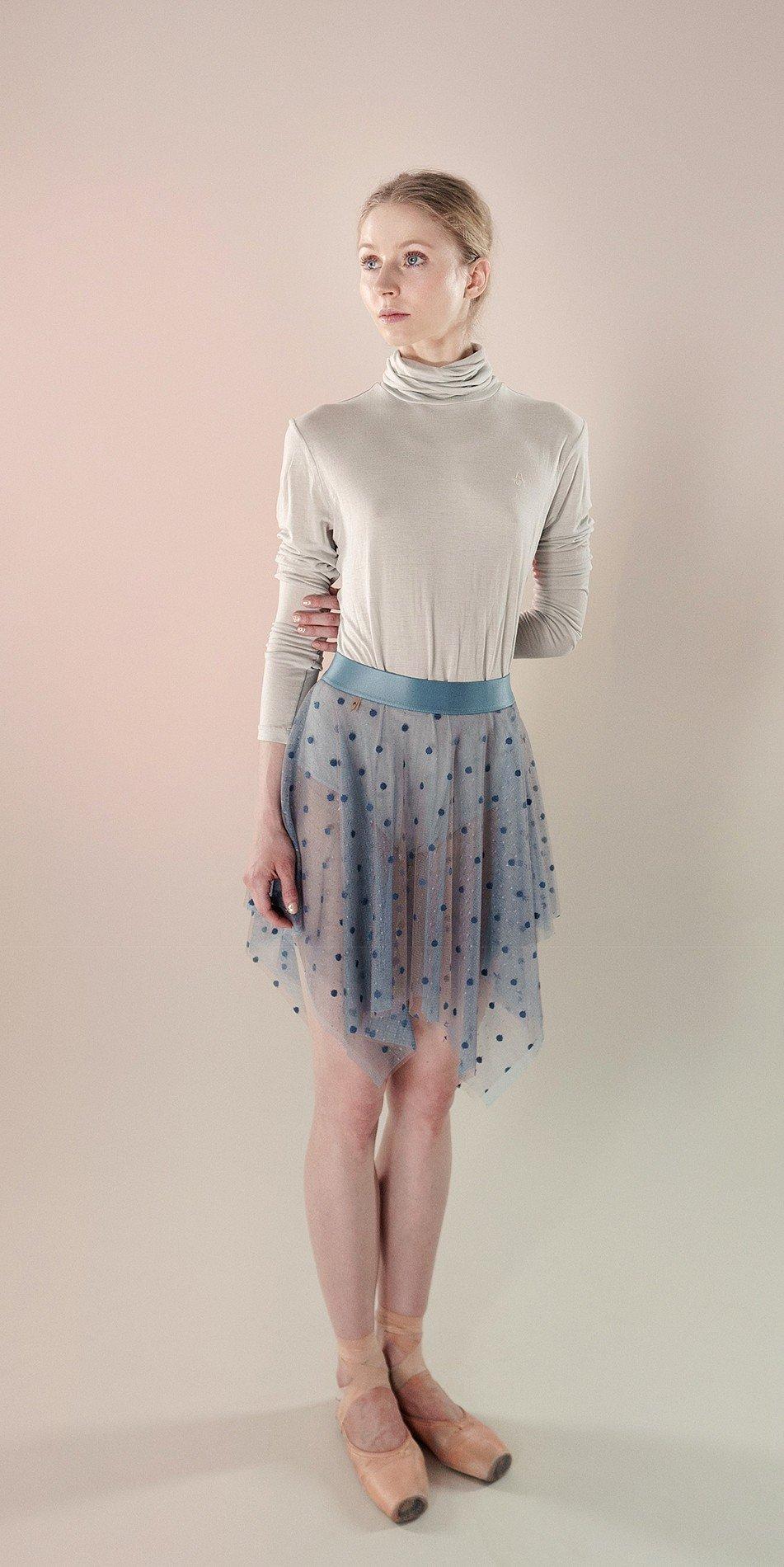 Polka20tulle short skirt blue 3 r