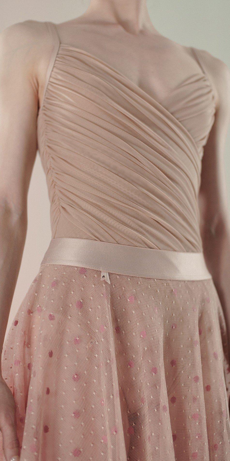 Polka20tulle short skirt nude 1 r