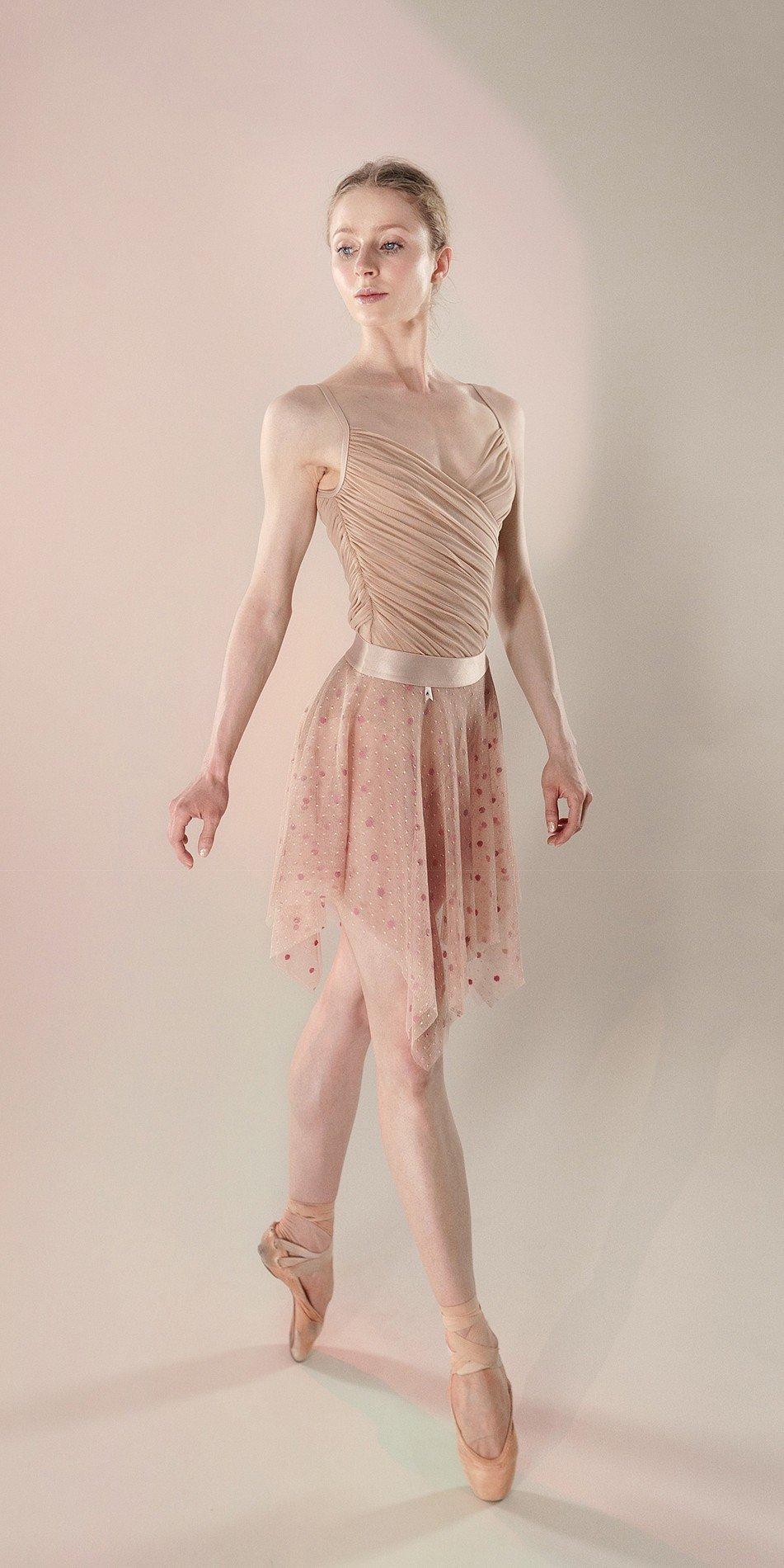Polka20tulle short skirt nude 3 r