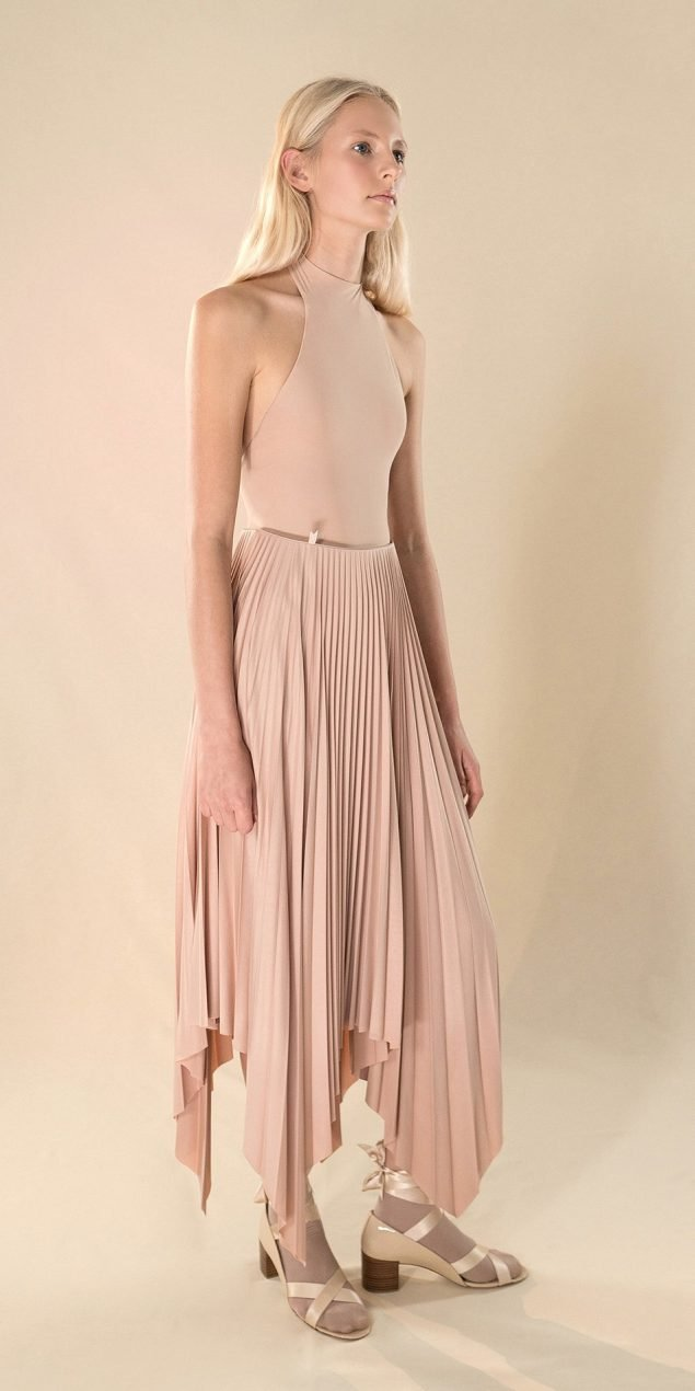 SUN20RAY nude pleated skirt 1 r 2