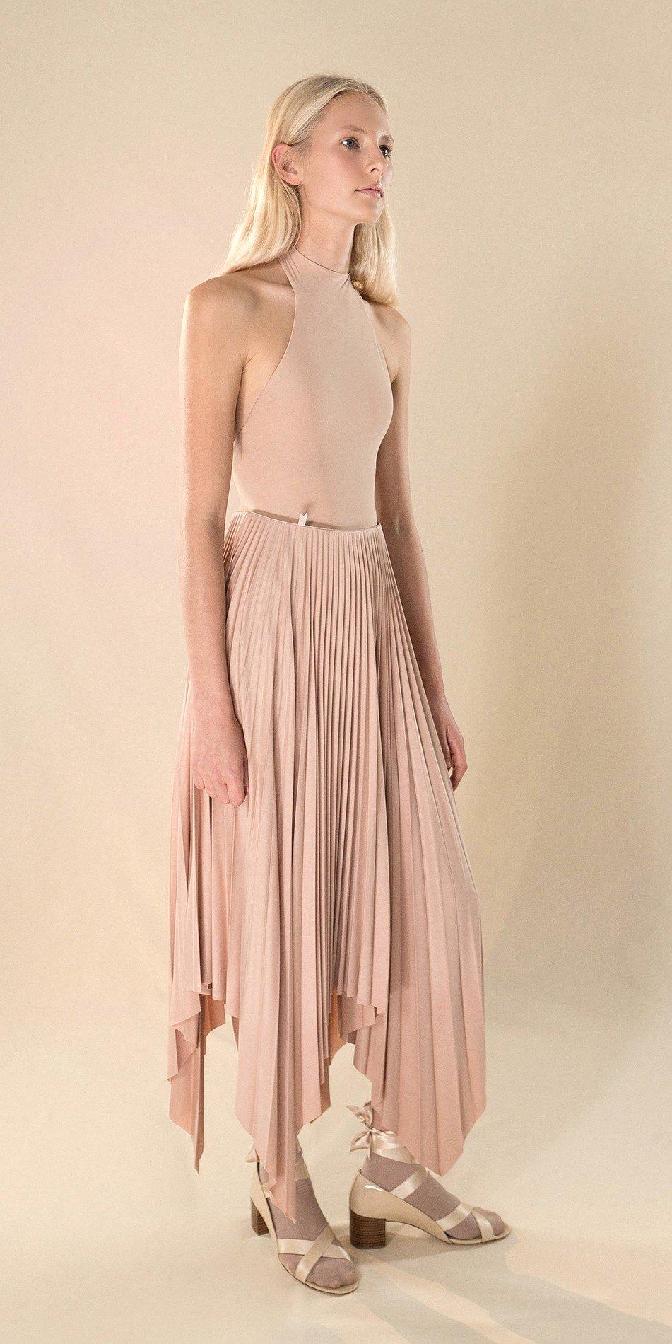 SUN20RAY nude pleated skirt 1 r 2
