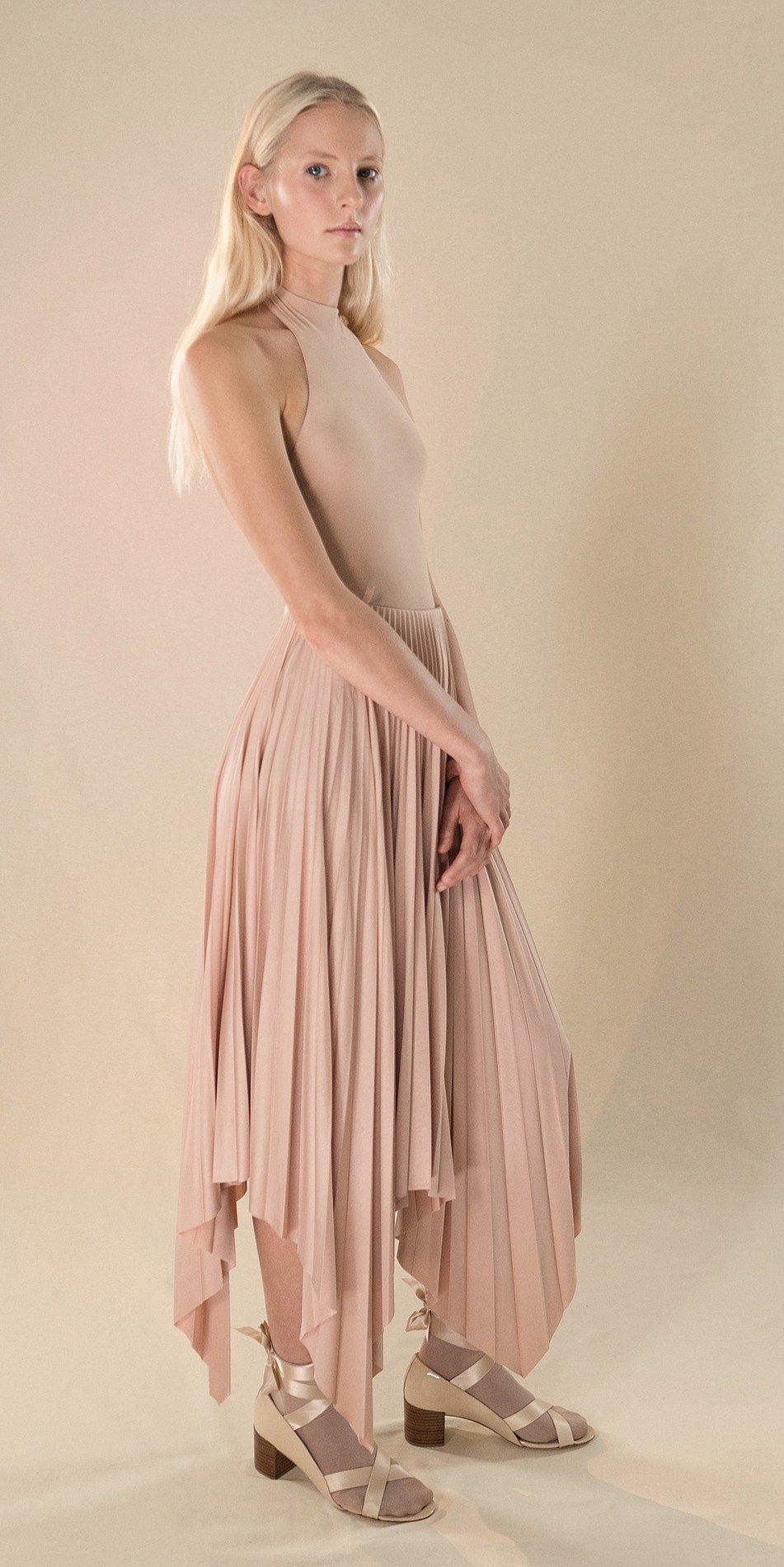 SUN20RAY nude pleated skirt 3 r 2