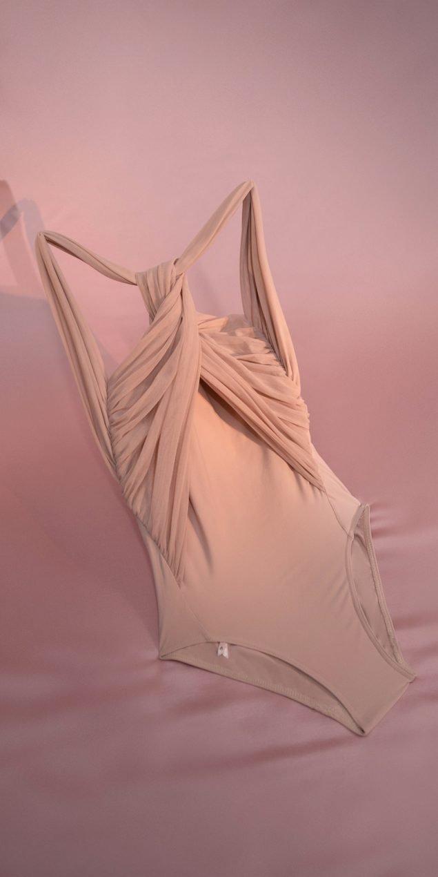 justacorpse OGLAS GRES knotted neckline leotard nude