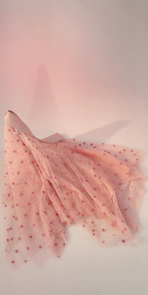 justacorpse Polka tulle short skirt blush