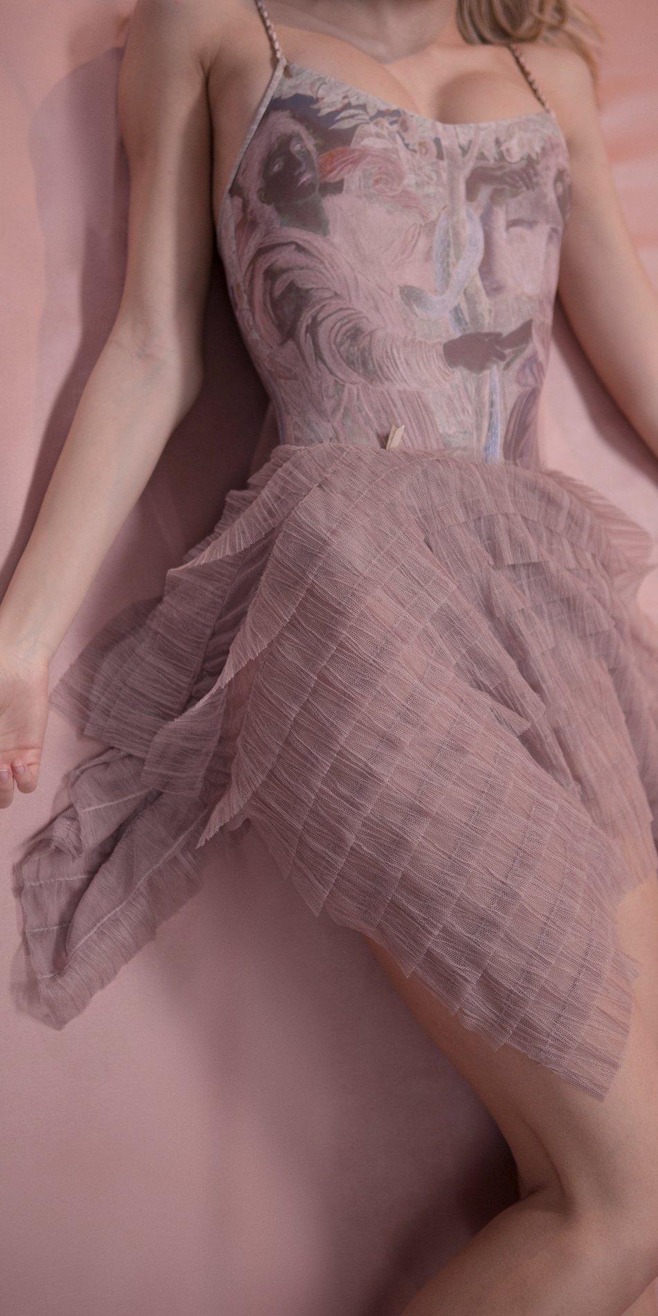 MILLE FEULLE short squere skirt lavender 2