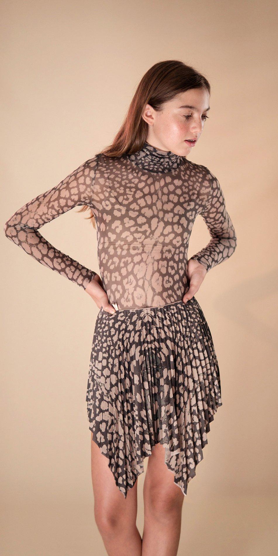 ANIMALISTIC pleated mini skirt black leopardess