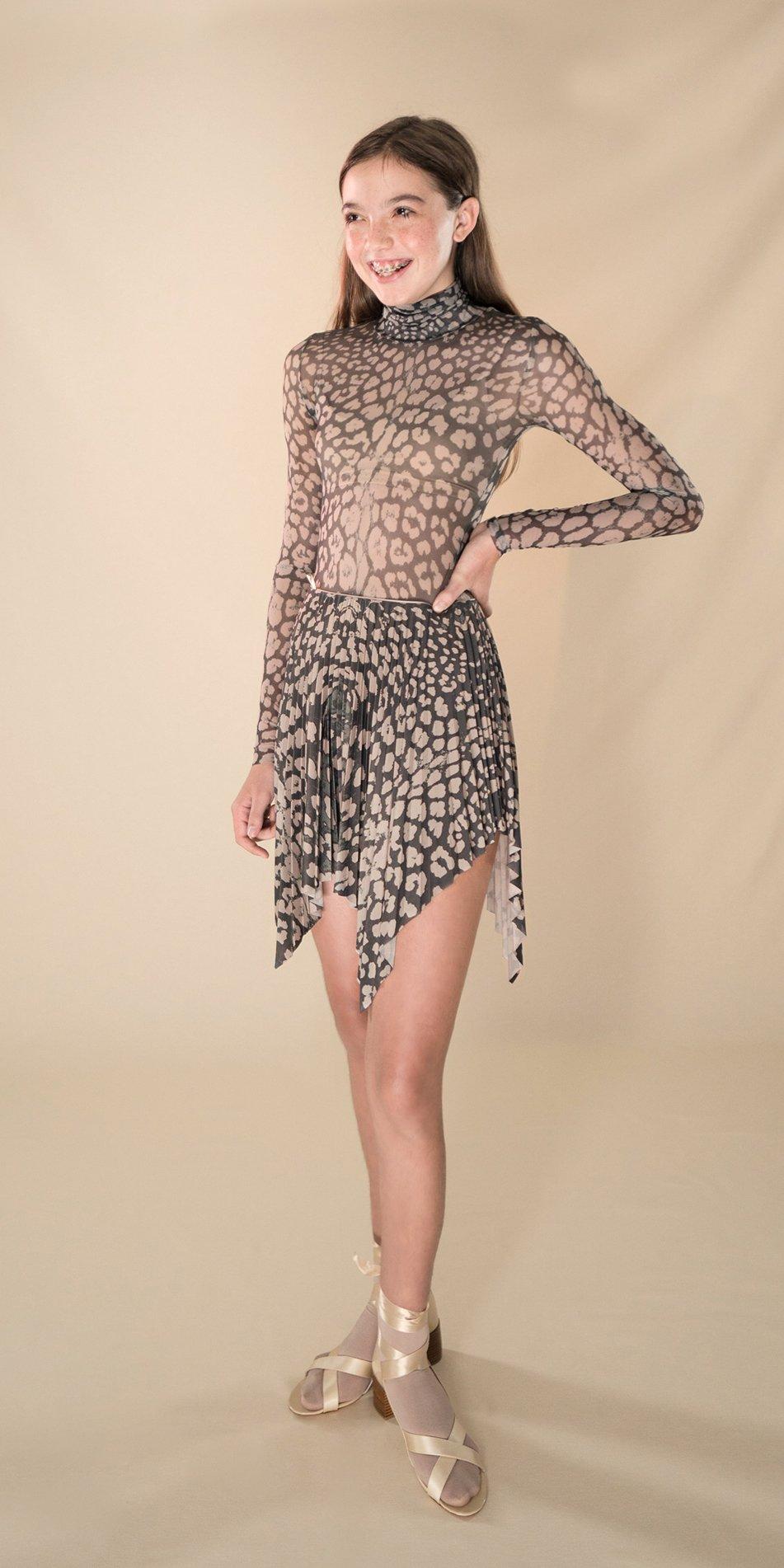 ANIMALISTIC pleated mini skirt black leopardess 2