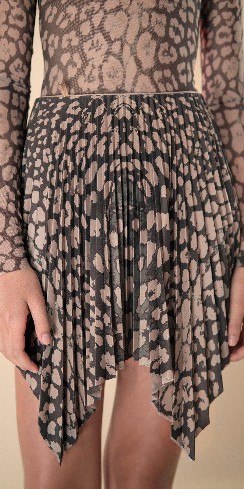 ANIMALISTIC pleated mini skirt black leopardess 3