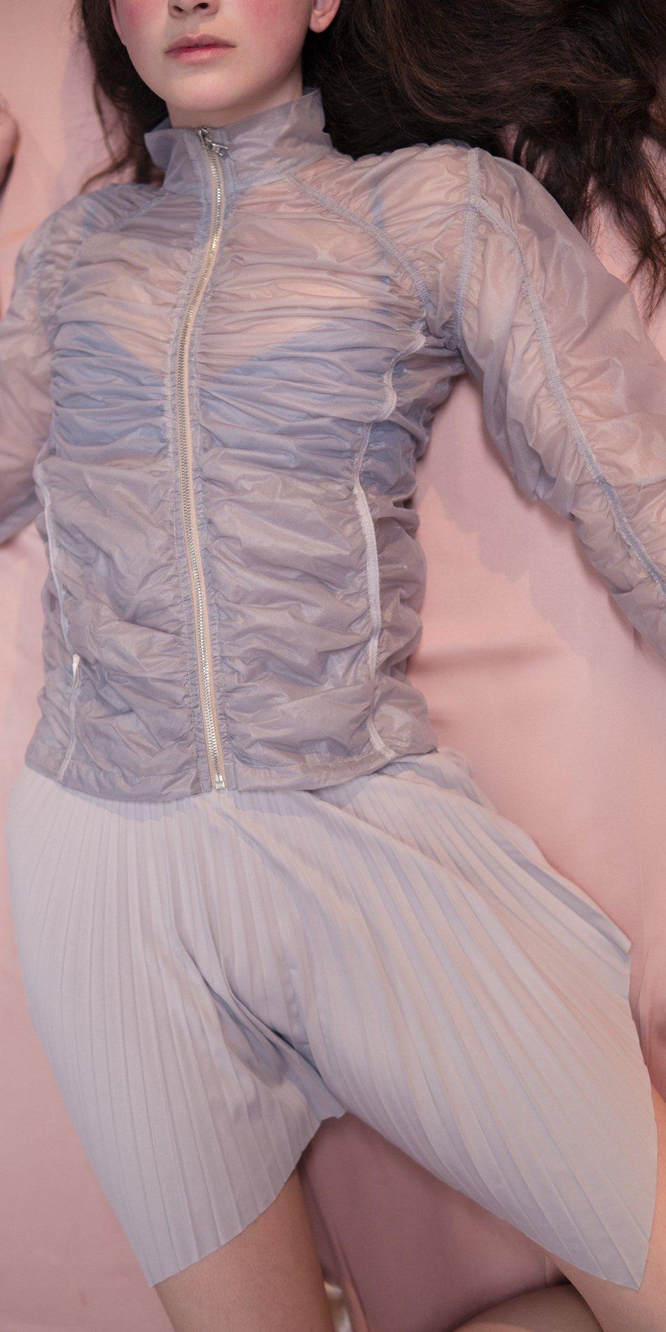 SUN RAY pleated short skirt ice 1