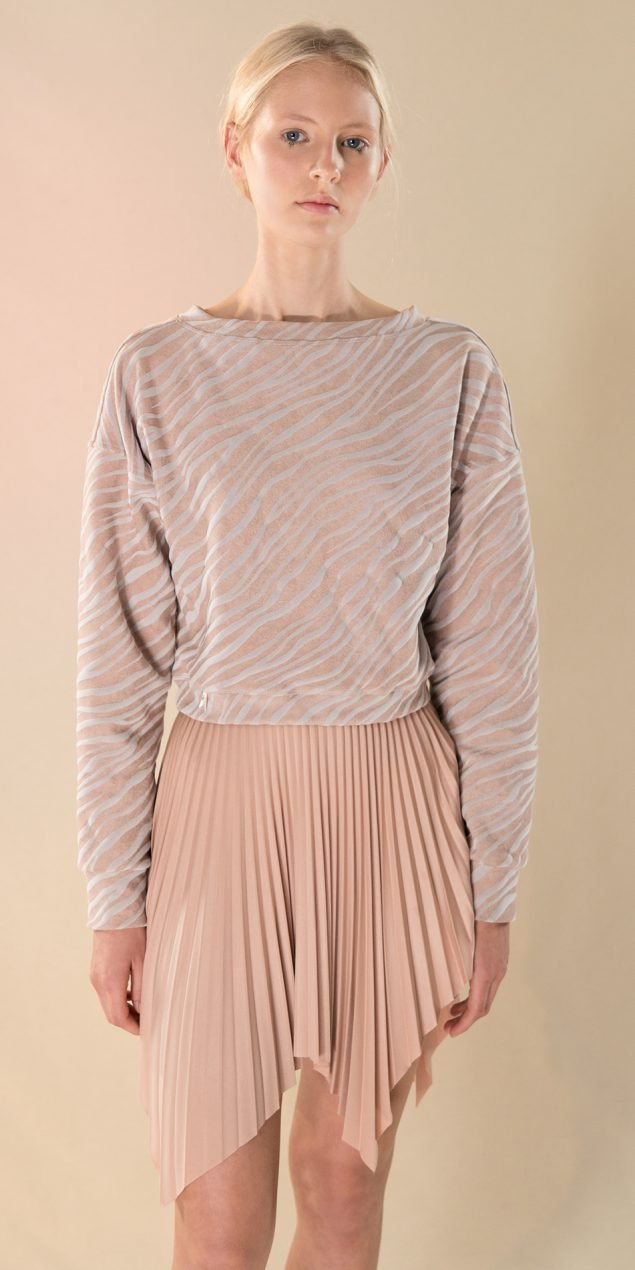 SUN RAY pleated short skirt nude 2