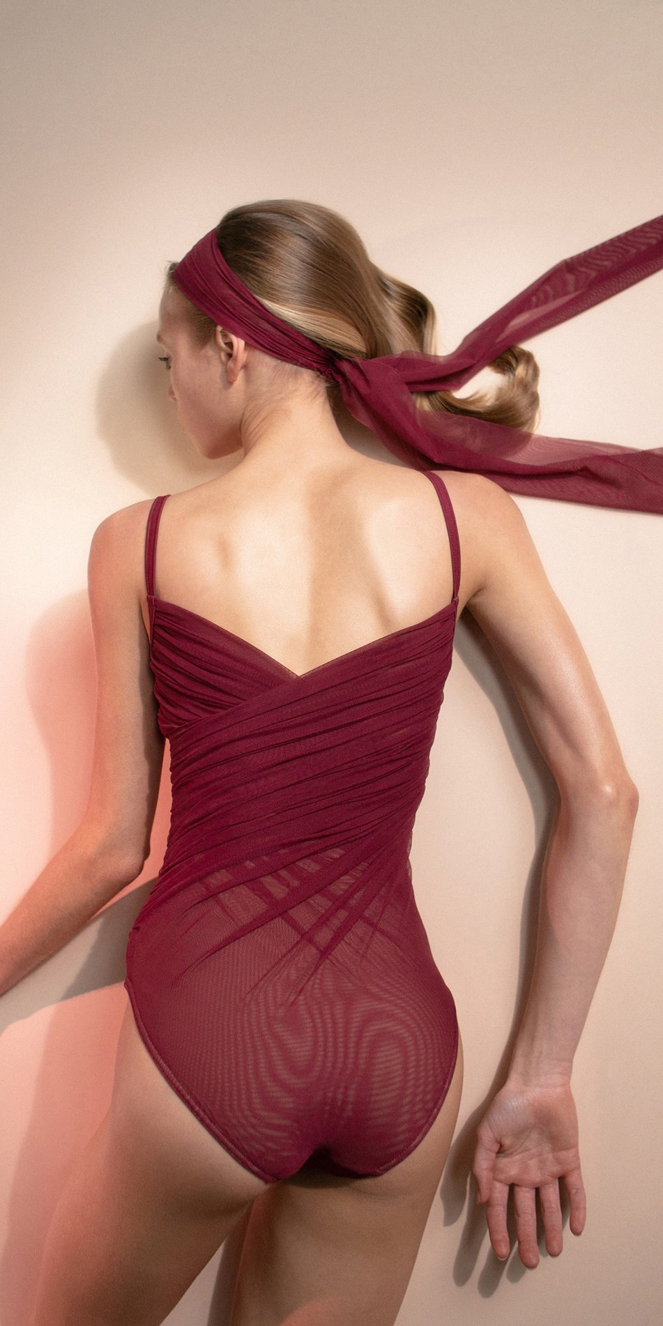 GRES – red cache coeur draped leotard 4