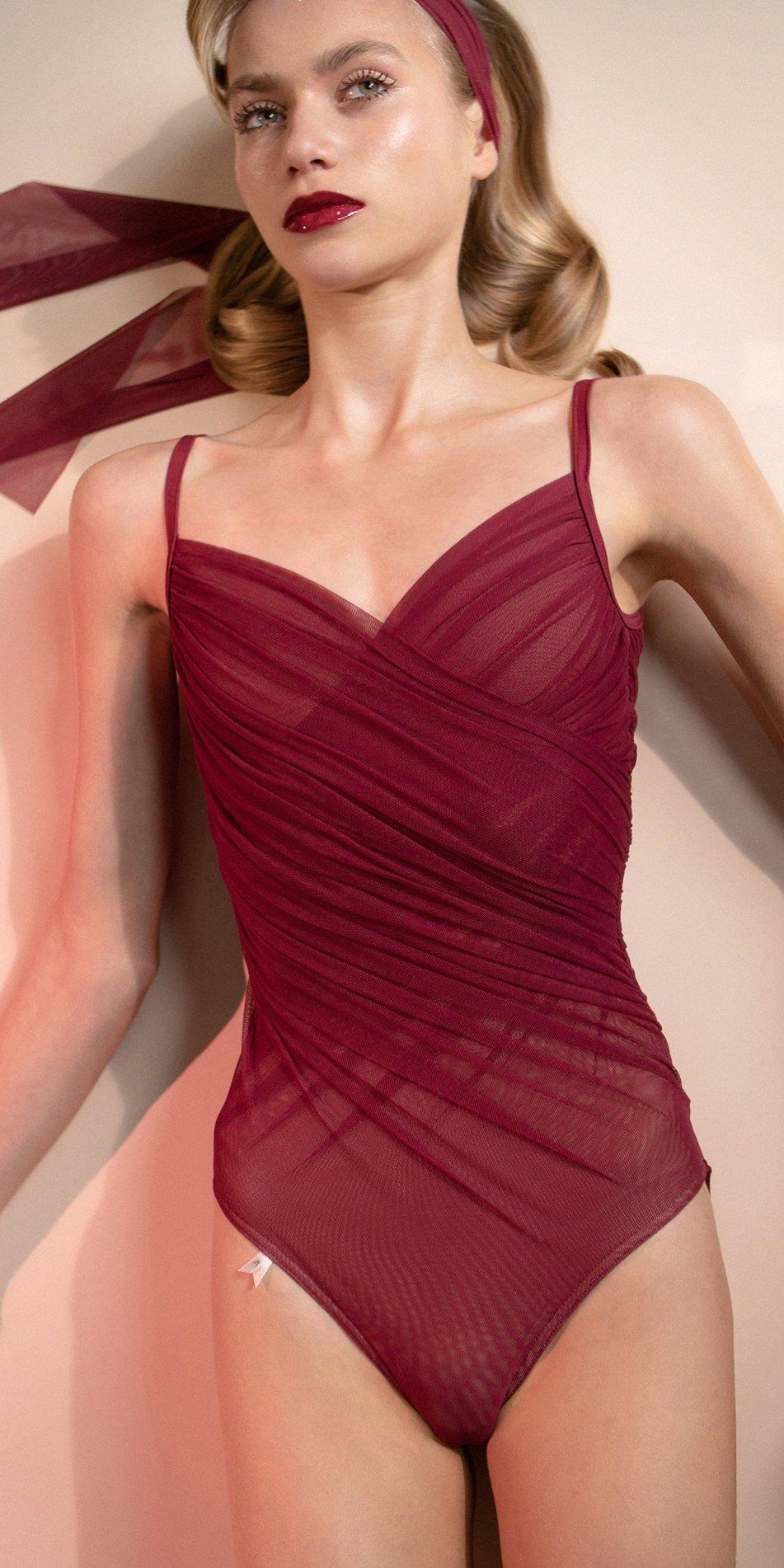 GRES – red cache coeur draped leotard 7