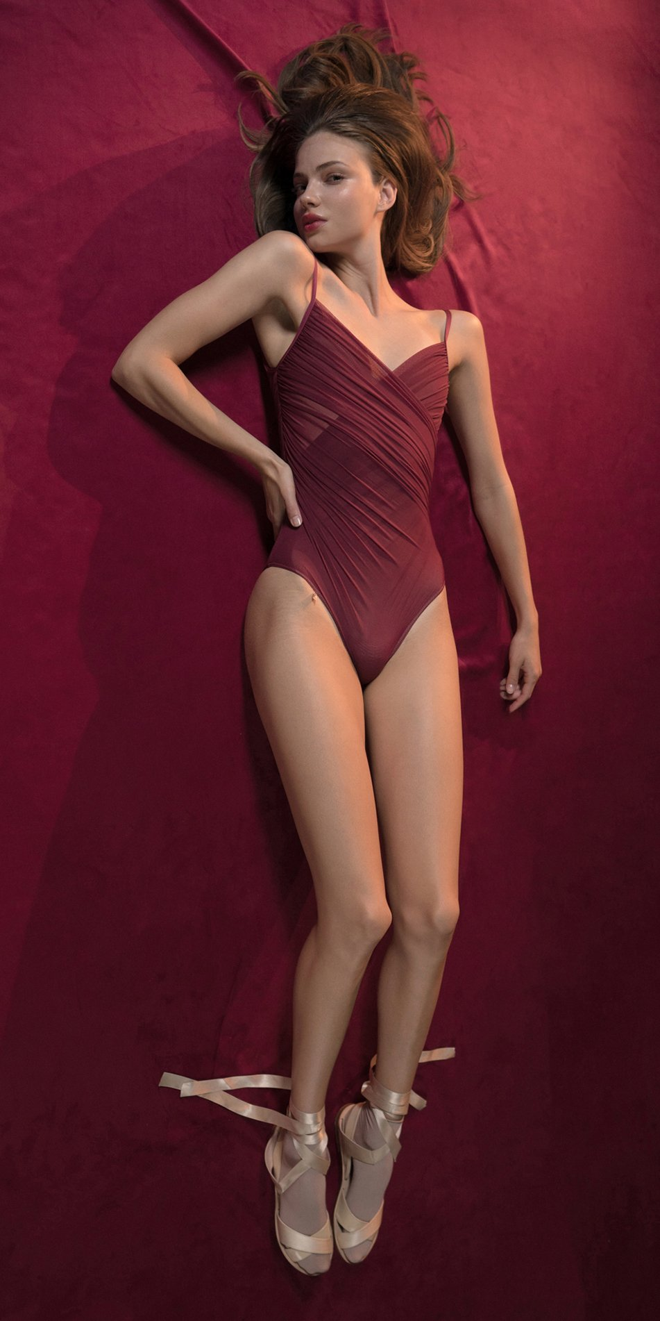 GRES red cache coeur draped leotard 1