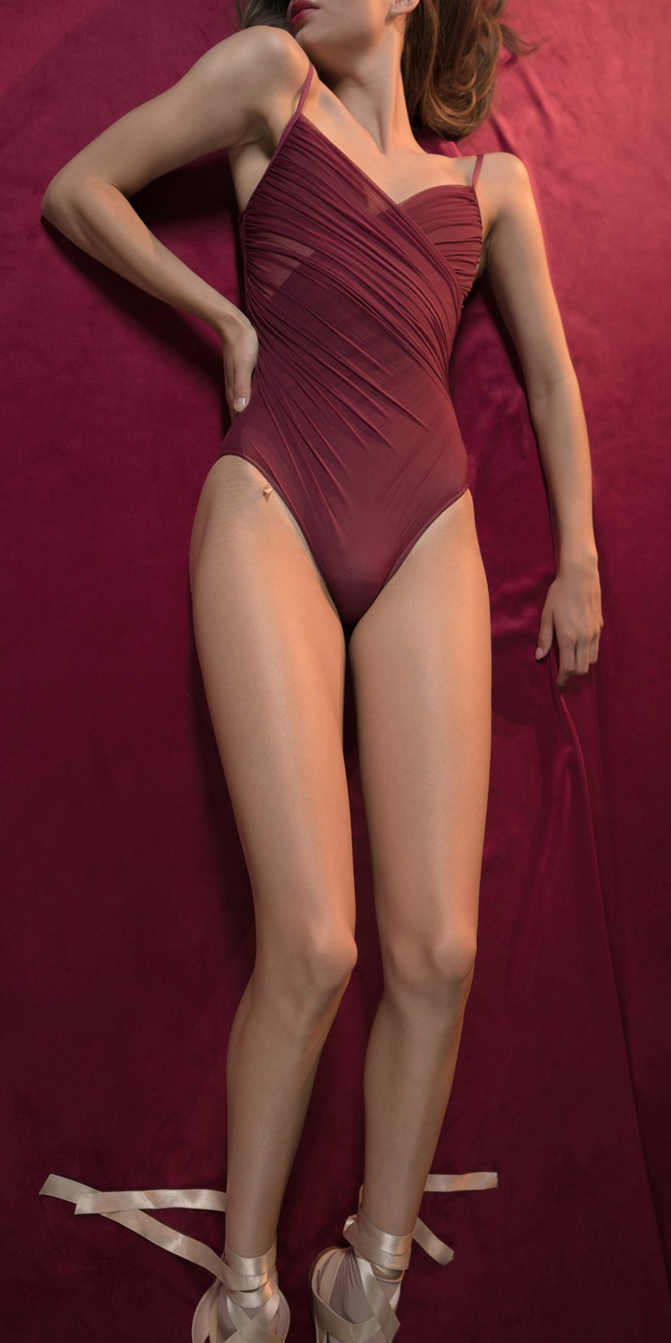 GRES red cache coeur draped leotard 3
