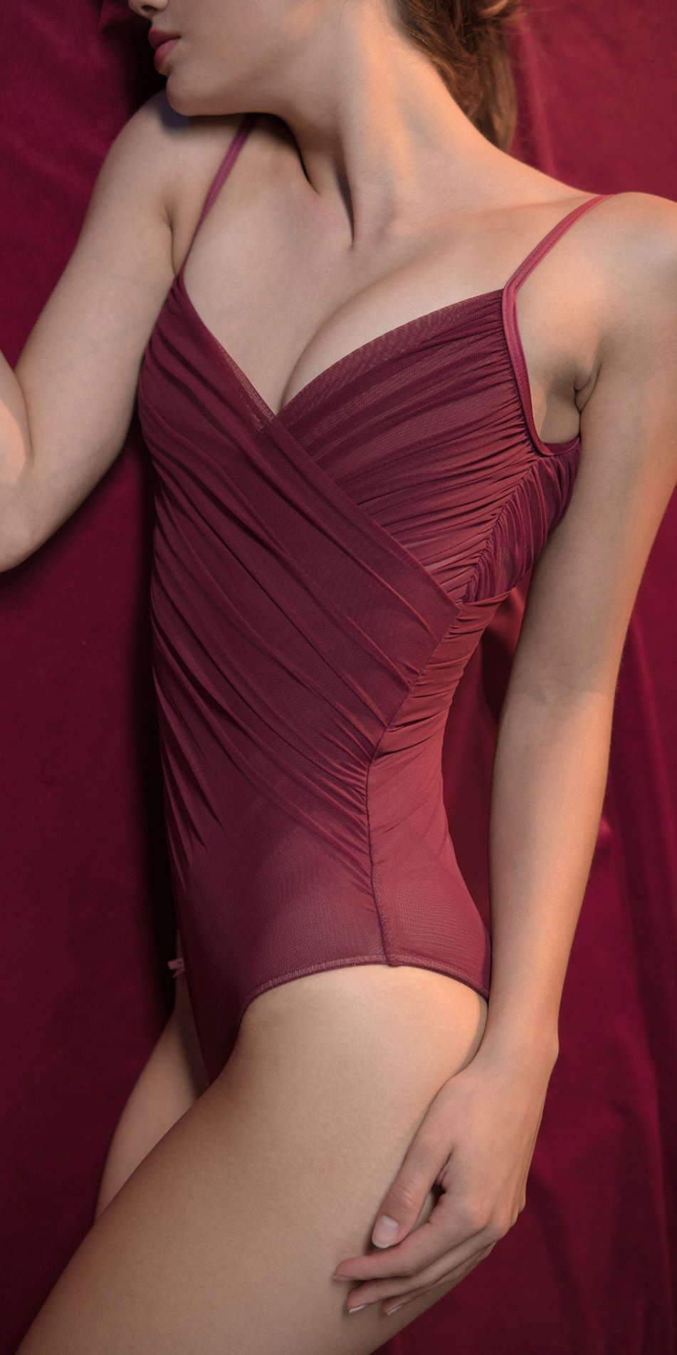 GRES red cache coeur draped leotard 4