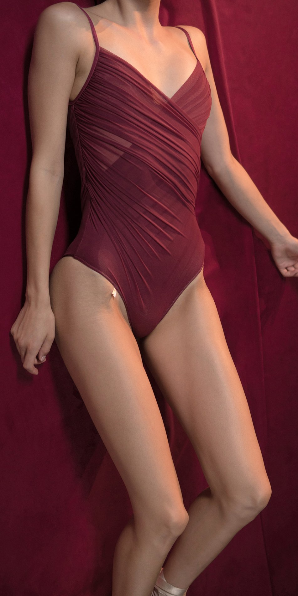 GRES red cache coeur draped leotard 9