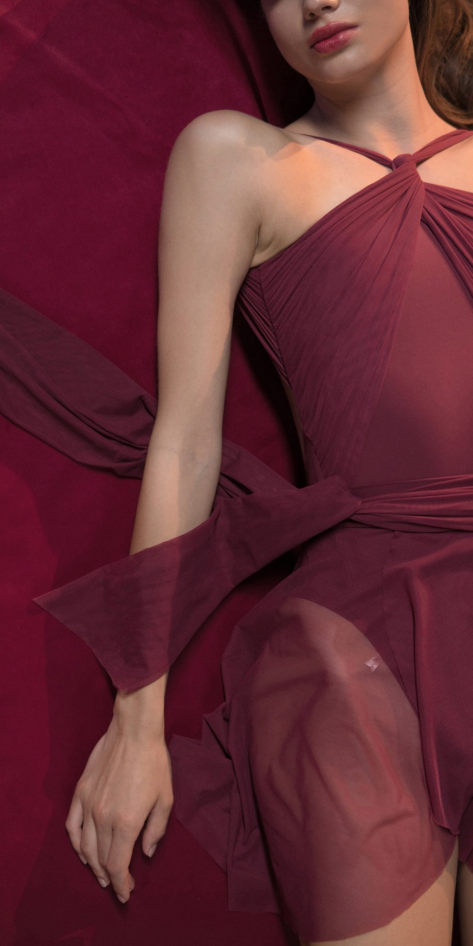 GRES red draped wrap skirt 1