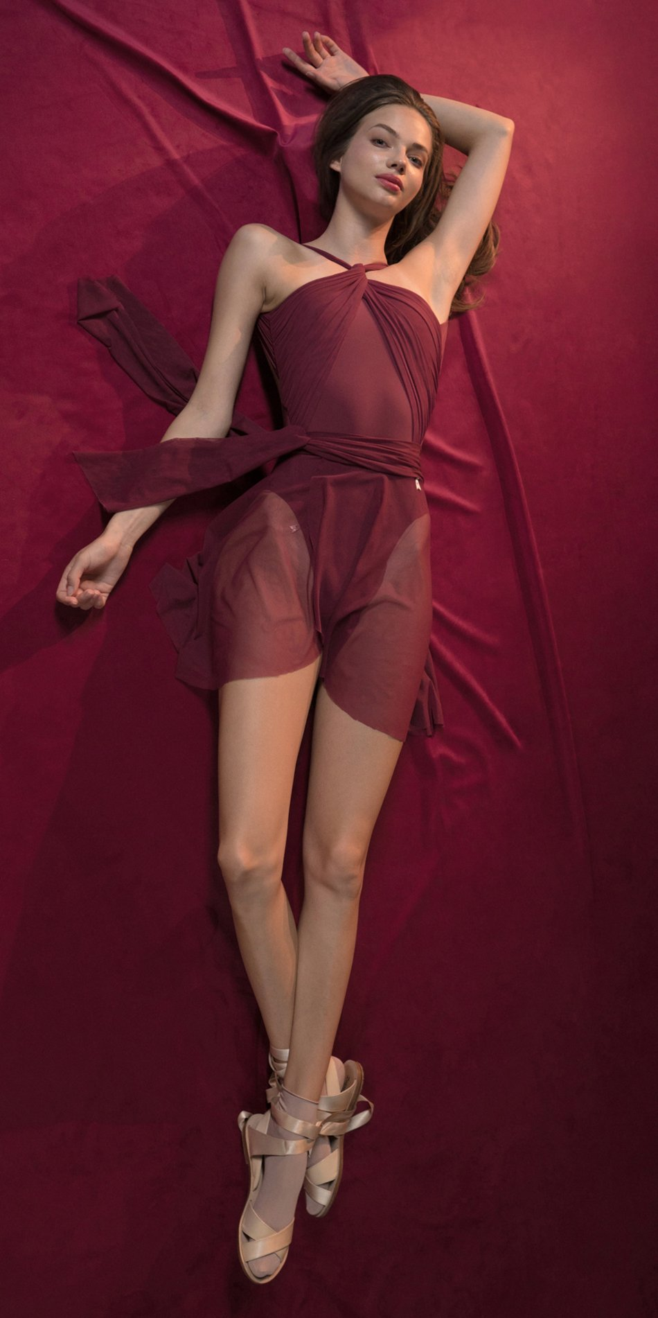 GRES red draped wrap skirt 2