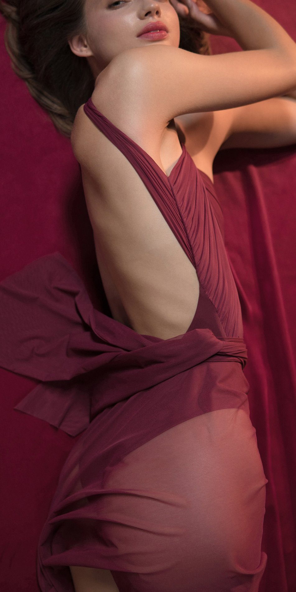 GRES red draped wrap skirt 3