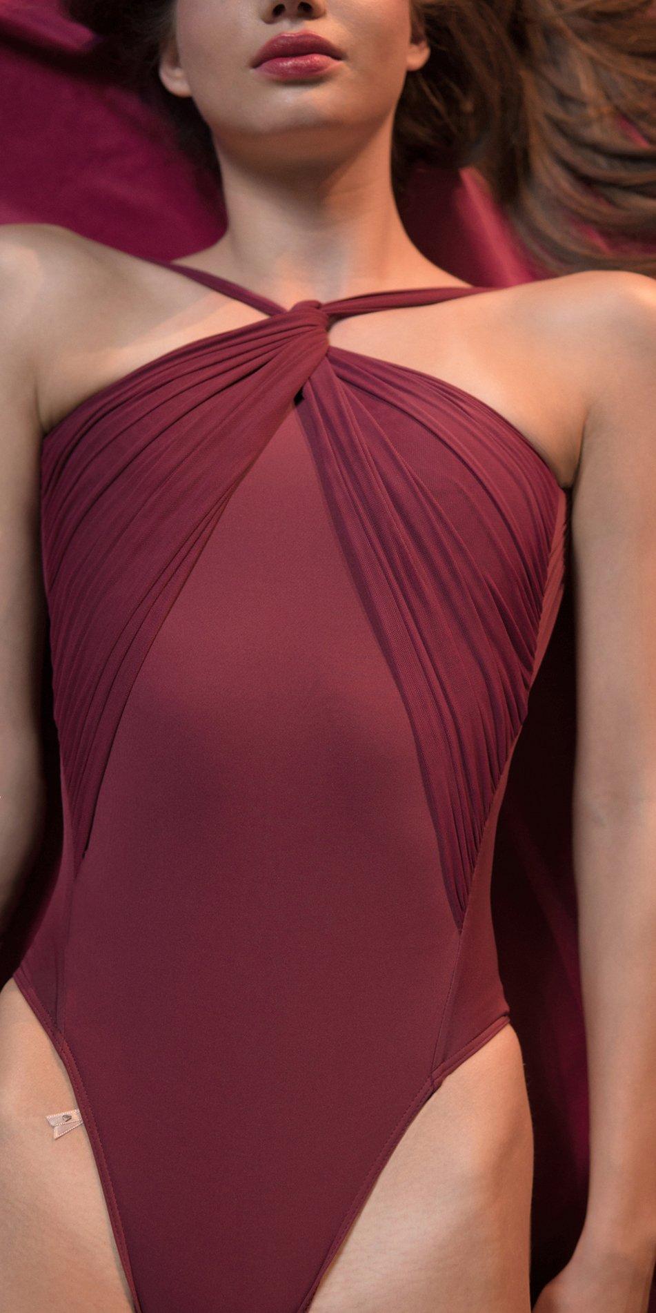 GRES red knotted neckline leotard 6