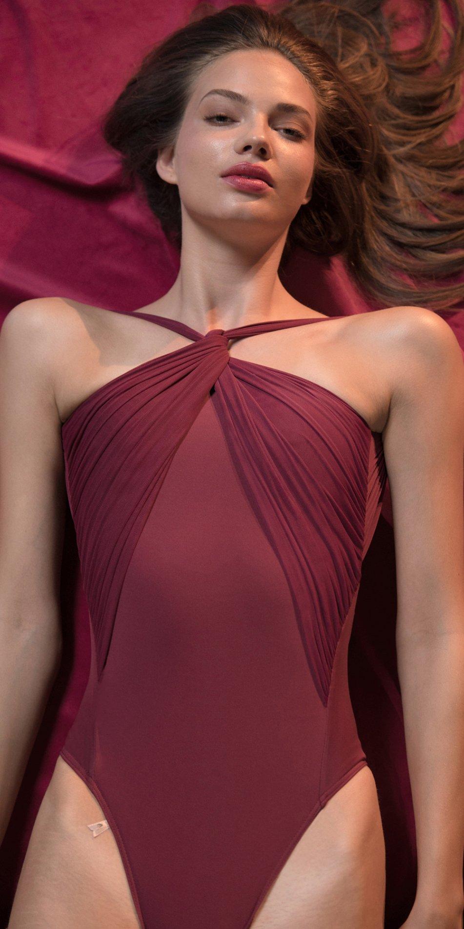 GRES red knotted neckline leotard 7