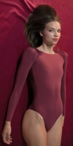 GRES red knotted nude leotard with sleeves 1