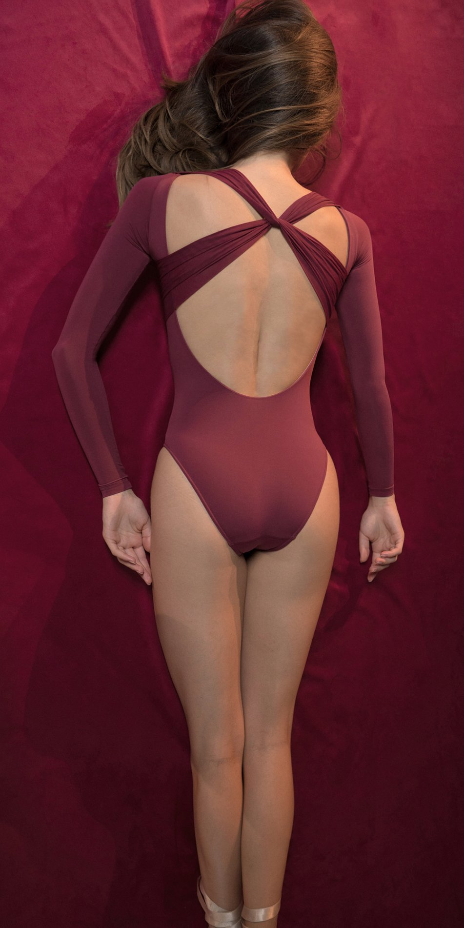 GRES red knotted nude leotard with sleeves 2